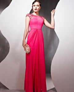Beaded Tulle Silk Charmeuse Jewel Neck Floor Length Evening Dresses