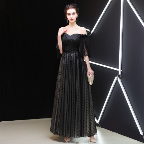 f497a22bb1 Chic   Beautiful Black Evening Dresses 2019 A-Line   Princess Off-The- Shoulder 1 2 Sleeves Sash Dot Tulle Appliques Lace ...
