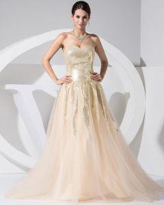 Trägerlosen Ärmellos Reißverschluss Pailletten Bodenlange Spitze Seidensatin Frau Celebrity Dress