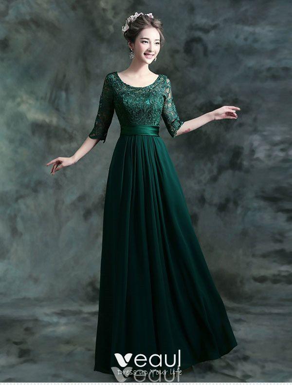 Modest Lange Spitze Abendkleid Dunkelgrünes Festliche ...