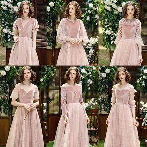 Affordable Pearl Pink Suede Winter Bridesmaid Dresses 2020 A-Line / Princess Star Sequins Floor-Length / Long Ruffle Backless Wedding Party Dresses
