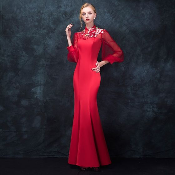 Chinese style Red Pierced Evening Dresses  2018 Trumpet / Mermaid High Neck Long Sleeve Embroidered Beading Floor-Length / Long Ruffle Formal Dresses