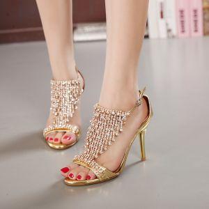 Charmant Doré Soirée Faux Diamant Gland Sandales Femme 2020 9 cm Talons Aiguilles Peep Toes / Bout Ouvert Sandales