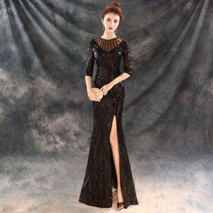 Moderne / Mode Noire Robe De Soirée 2018 Trompette / Sirène Perlage Encolure Dégagée 1/2 Manches Paillettes Fendue devant Longue Robe De Ceremonie