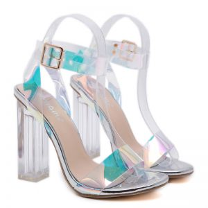 Sexet Sølv Selskabs Krystal Sandaler Dame 2020 Ankel Strop 12 cm Tykke Hæle Peep Toe Sandaler
