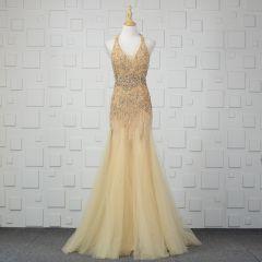 Luxury / Gorgeous Champagne Handmade  Beading Evening Dresses  2019 Trumpet / Mermaid Crystal Sequins Rhinestone Tassel Halter Sleeveless Backless Floor-Length / Long Formal Dresses