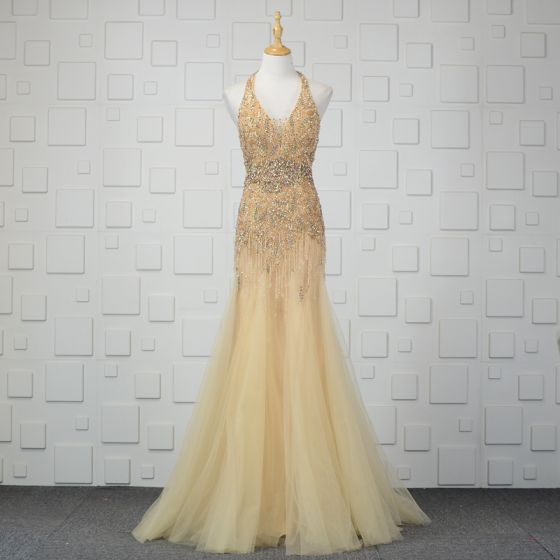 Luxury / Gorgeous Champagne Handmade  Beading Evening Dresses  2019 Trumpet / Mermaid Crystal Sequins Rhinestone Tassel Halter Sleeveless Backless Floor-Length / Long Formal Dresses