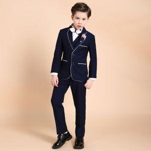 Luxe Bleu Marine Boys Wedding Suits Rougissant Rose Cravate Bijoux De Corps 2018