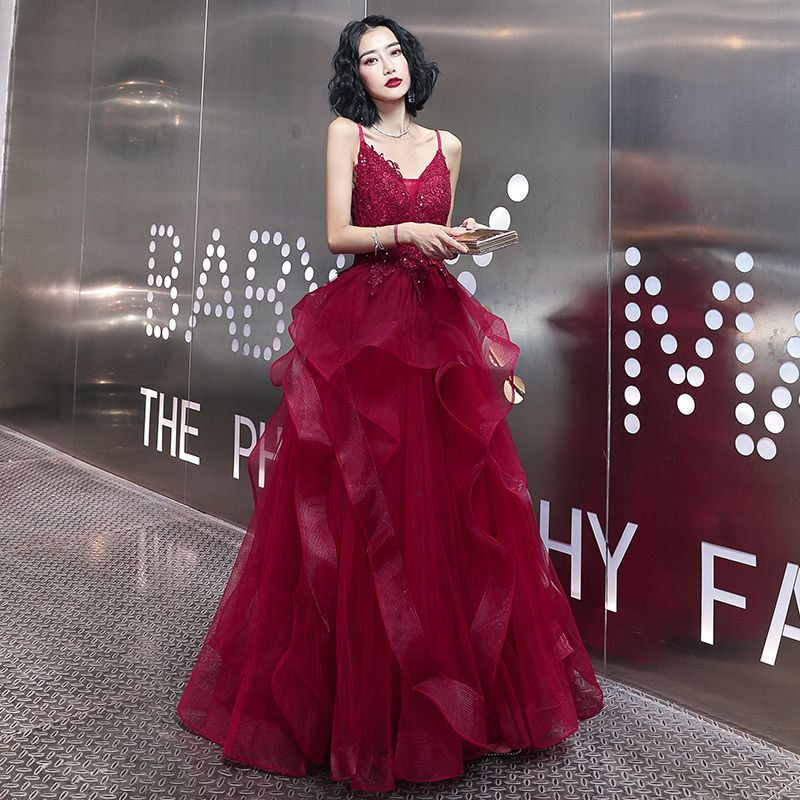 Sexy Burgundy Evening Dresses  2020 A-Line / Princess Spaghetti Straps Sleeveless Appliques Lace Beading Floor-Length / Long Ruffle Backless Formal Dresses