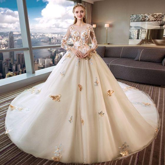Romantyczny Kość Słoniowa Przezroczyste Suknie Ślubne 2019 Suknia Balowa Wycięciem Długie Rękawy Bez Pleców Motyl Aplikacje Z Koronki Trenem Katedra Wzburzyć