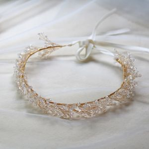 Eleganta Guld Pannband Brud Huvudbonad 2020 Legering Snörning Kristall Hårsmycken Bröllop Tillbehör