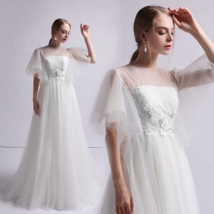 Modest / Simple Ivory See-through Wedding Dresses 2019 A-Line / Princess Square Neckline 1/2 Sleeves Backless Appliques Lace Pearl Sweep Train Ruffle