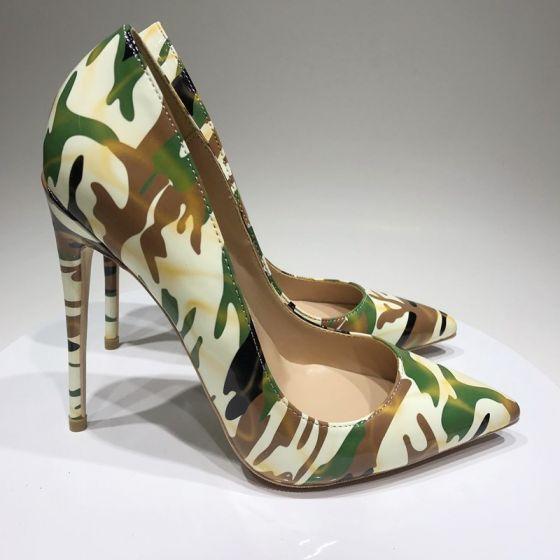 Amazing / Unique Multi-Colors Camouflage Street Wear Pumps 2020 Patent Leather 12 cm Stiletto Heels Pointed Toe Pumps