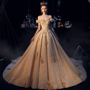 Luxury / Gorgeous Champagne Wedding Dresses 2019 A-Line / Princess Off-The-Shoulder Lace Flower Appliques Crystal Pearl Rhinestone Sequins Short Sleeve Backless Cathedral Train