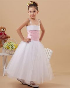 Taffeta Organza Layered Sash Spaghetti Strap Floor Length Flower Girl Dresses
