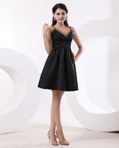 Satin Organza V-Neck Sleeveless Bridesmaid Dresses