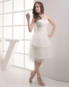 Wzburzyc Moda Gaza Satyna Linke Kochanie Mini Kolan Suknia Ślubna Krótkie Suknie Ślubne