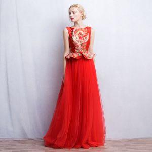 Chinesischer Stil Rot Abendkleider 2017 A Linie Eckiger Ausschnitt Ärmellos Drucken Lange Rüschen Festliche Kleider