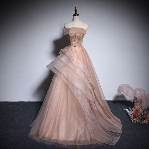 Chic / Belle Champagne Organza Robe De Bal 2020 Princesse Bustier Sans Manches Appliques Fleur Perlage Longue Volants Dos Nu Robe De Ceremonie
