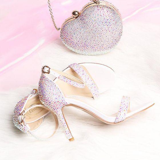 Sexy Multi-Couleurs Faux Diamant Soirée Sandales Femme 2020 Bride Cheville 9 cm Talons Aiguilles Peep Toes / Bout Ouvert Sandales