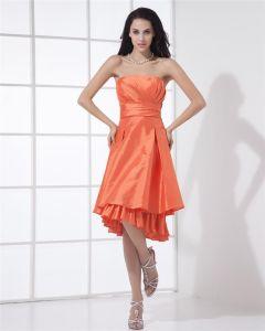 Elegant A-linje Stroppelos Knelang Taft Festkjole Festkjoler