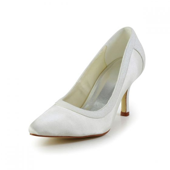 Simple Ivory Wedding Shoes Satin Stilettos Pumps With Glitter