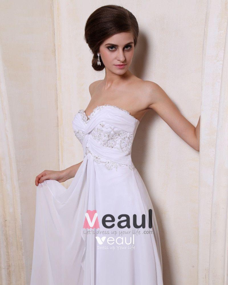 Chiffon Ruffle Sweetheart Sweep Sheath Bridal Gown Wedding Dress