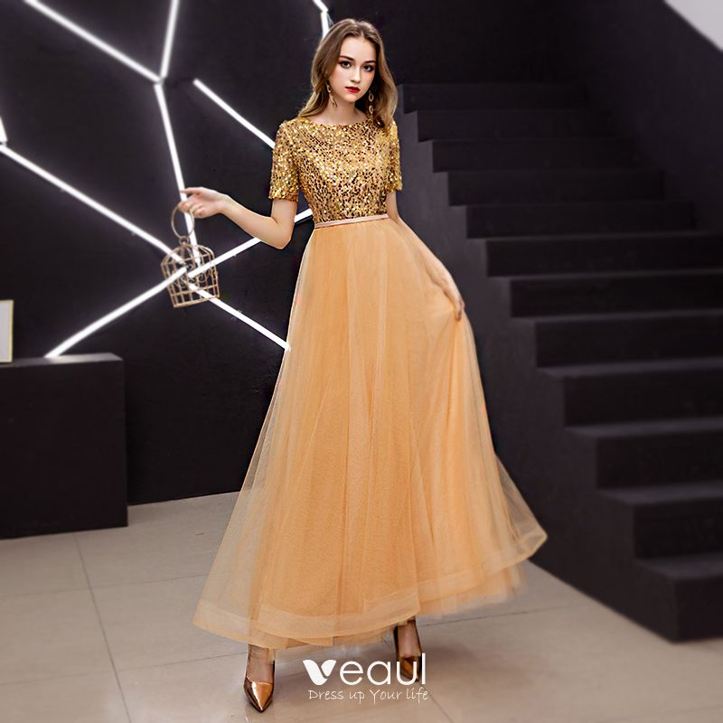 Elegante Gold Ballkleider 2019 A Linie Rundhalsausschnitt ...