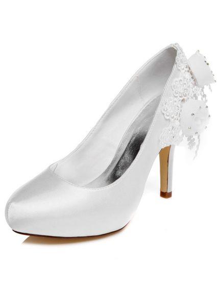 4ca26abf2ec27 Piękne Czółenka Białe Buty Ślubne 10 cm Szpilki Buty Na Obcasie Z Kwiatem
