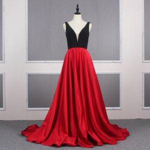 Zwei Töne Schwarz Perlenstickerei Rot Satin Abendkleider 2020 A Linie Tiefer V-Ausschnitt Ärmellos Hof-Schleppe Rüschen Rückenfreies Festliche Kleider