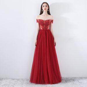 Moderne / Mode Bordeaux Robe De Soirée 2019 Princesse De l'épaule Manches Courtes Appliques En Dentelle Perlage Noeud Ceinture Longue Volants Dos Nu Robe De Ceremonie