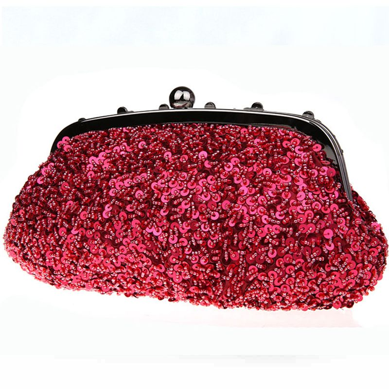 Chic / Beautiful Luxury / Gorgeous 2017 Champagne Red Silver Leaf Sequins Charmeuse Evening Party Outdoor / Garden Clutch Bags