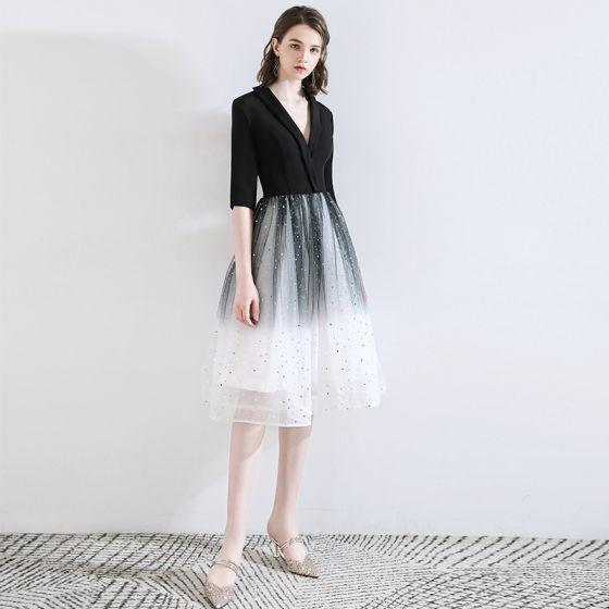 Chic / Belle Noire de retour Robe De Graduation 2020 Princesse V-Cou Étoile Paillettes Noeud 1/2 Manches Mi-Longues Robe De Ceremonie