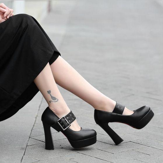 Mode Sorte Streetwear Spænde Pumps 2021 11 cm Tykke Hæle Vandtætte Spidse Tå Pumps
