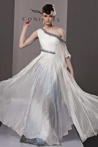 Slim Beading Sloping Floor Length Tencel Charmeuse Evening Dress