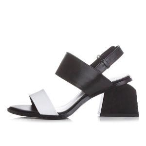 Flotte Mid Heel Sandaler 2017 Læder Peep Toe Tykke Hæle Mid Hæl Sandaler Dame
