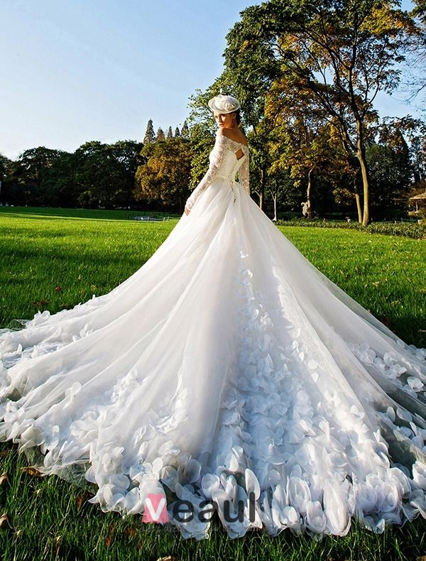 2015 A-line Square Neckline Long Sleeves Sash Bow And Long Tailing Organza Wedding Dress