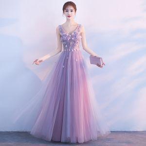 Mooie / Prachtige Lavendel Galajurken 2018 A lijn Kralen Kristal Parel Appliques V-Hals Ruglooze Mouwloos Lange Gelegenheid Jurken