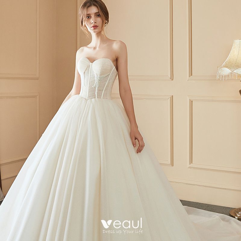 Detachable Cathedral Train Wedding Gown: Elegant Ivory Wedding Dresses 2018 Ball Gown Beading