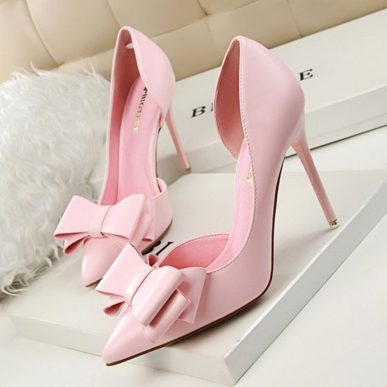 Lovely Candy Pink Dating Womens Shoes 2020 Bow 10 cm Stiletto Heels Pointed Toe High Heels