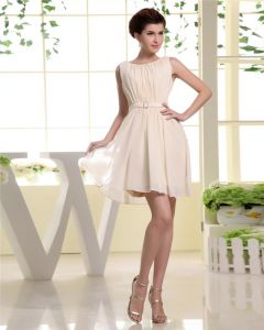 Thigh Length Pleat Chiffon A-Line Woman Little Black Party Dress
