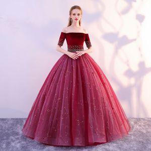 Elegant Burgundy Prom Dresses 2019 A-Line / Princess Off-The-Shoulder Suede Flower Pearl Lace Short Sleeve Backless Floor-Length / Long Formal Dresses