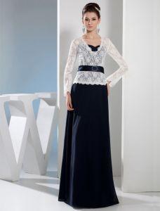 2015 Elegant Lace Long Sleeves V-neck Evening Dress With Sash