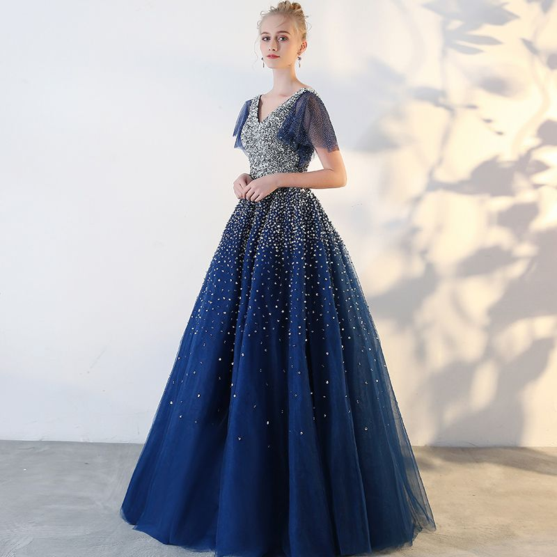 Glitzernden Königliches Blau Ballkleider 2018 Tülle V-Ausschnitt Pailletten Glanz Rückenfreies Perlenstickerei Sternenklarer Himmel Ballkleid Ball Festliche Kleider