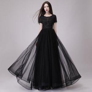 Affordable Black Prom Dresses 2018 A-Line / Princess Scoop Neck Short Sleeve Appliques Lace Beading Floor-Length / Long Ruffle Backless Formal Dresses
