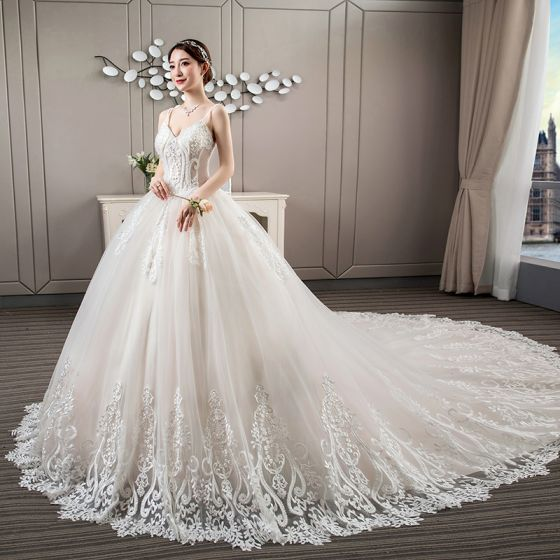 Luxury / Gorgeous Ivory Wedding Dresses 2018 Ball Gown Lace Appliques Beading Pearl Rhinestone Spaghetti Straps Backless Sleeveless Royal Train Wedding