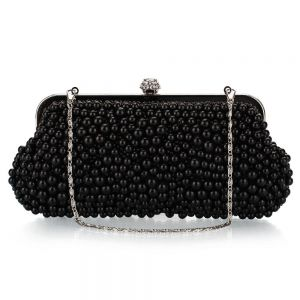 Luxury / Gorgeous Black Beading Pearl Rhinestone Metal Clutch Bags 2018