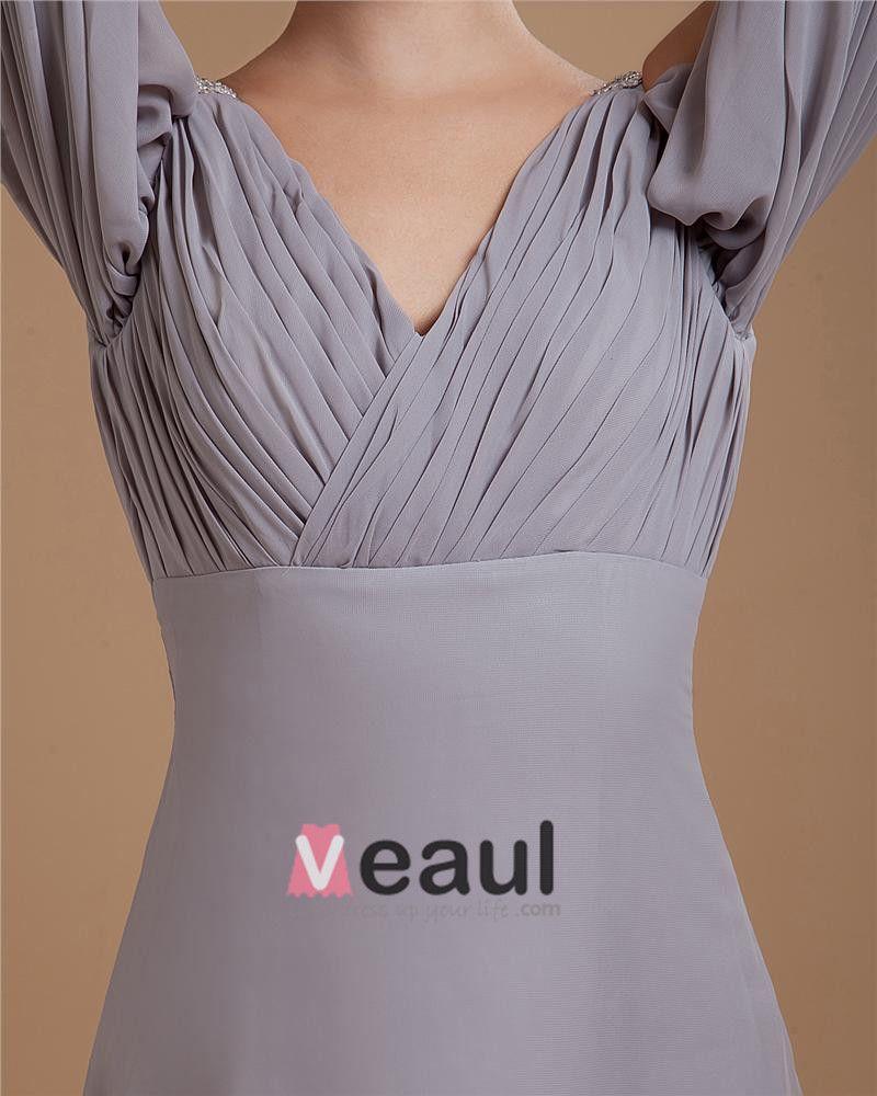 La Robe De Bal Gaine Col En V Longueur De Plancher De Mousseline De Soie Femmes