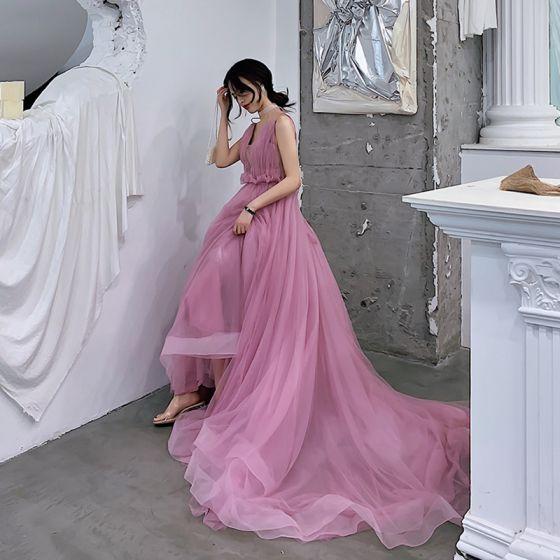Charmig Godis Rosa Aftonklänningar 2019 Prinsessa Djup v-hals Ärmlös Domstol Tåg Ruffle Halterneck Formella Klänningar