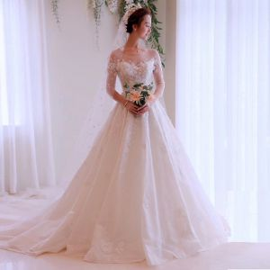 Glamorous Ivory See-through Wedding Dresses 2019 A-Line / Princess Scoop Neck 3/4 Sleeve Backless Appliques Lace Chapel Train Ruffle